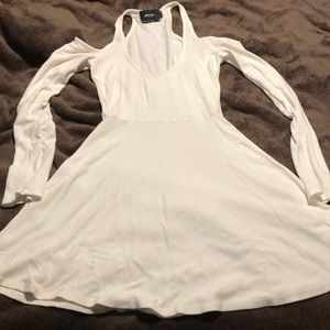 Off white long sleeve fit & flair dress